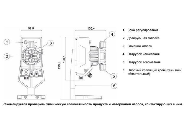 Дозирующий насос SEKO KOMPACT АМС200 с датчиком уровня (ручное управление), фото , изображение 2