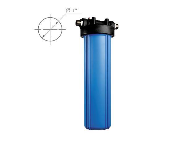 """Корпус фильтра BB-20 (1"""") с ключом, кронштейном, синий, фото"""